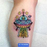 腿部纹身-小清新飞碟纹身图案 ufo纹身寓意
