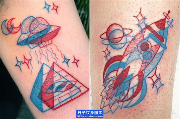 欧美彩色飞碟纹身图案 ufo纹身图片