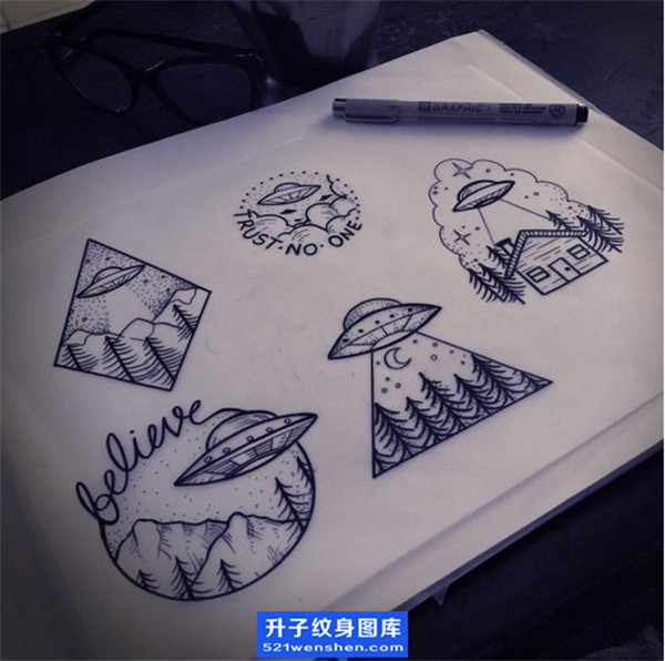 飞碟纹身手稿_ufo纹身图案-飞碟纹身图片