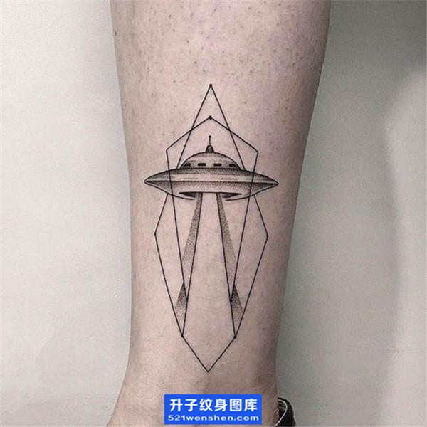 脚踝飞碟纹身图案 ufo纹身图片