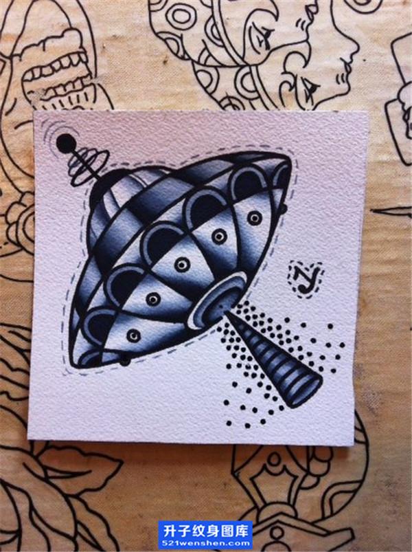 飞碟纹身手稿图案_飞碟纹身图片_ufo纹身
