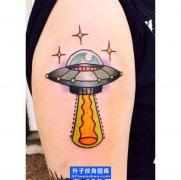 手臂欧美飞碟纹身图案 ufo纹身图片