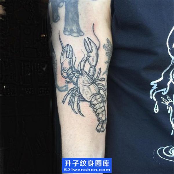 手臂黑白虾子纹身图案