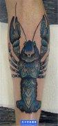 小腿彩色虾子纹身图案