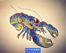 虾子纹身手稿图案
