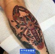 小腿old school虾子纹身图案