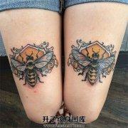美女大腿蜜蜂纹身图案大全