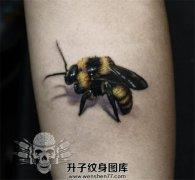 手臂写实蜜蜂纹身图案