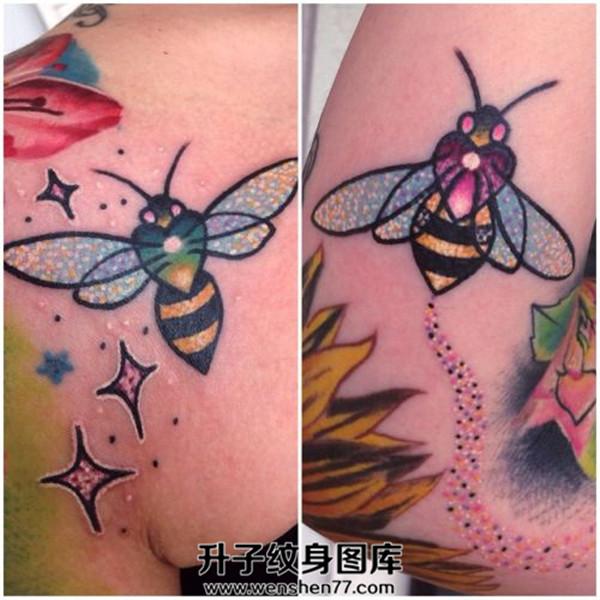 肩膀女性小蜜蜂纹身图案