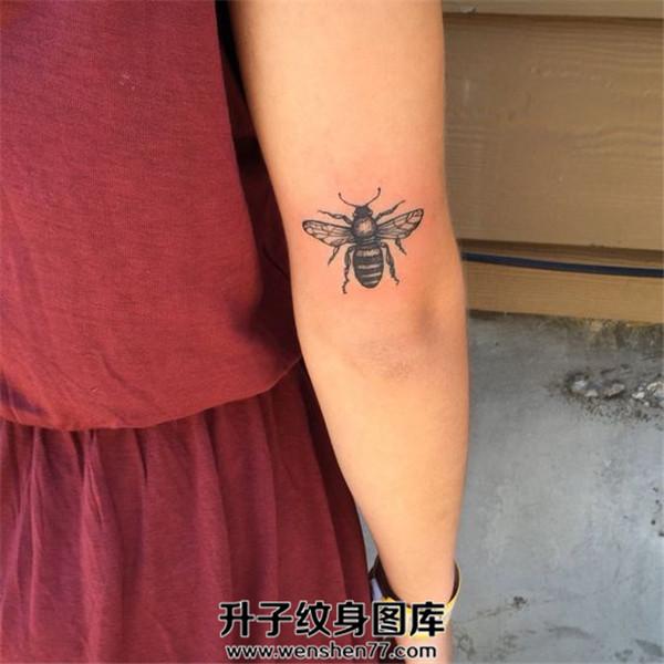 女性手臂小蜜蜂纹身图案