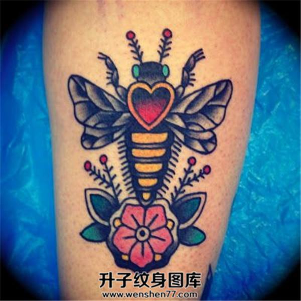 old school蜜蜂纹身图案