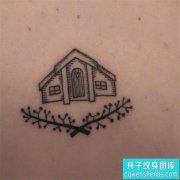 肩膀小清新建筑纹身图案