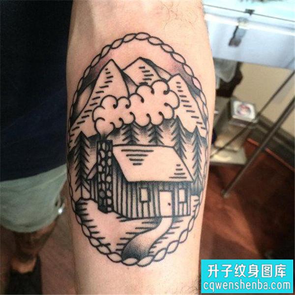 手臂欧美点刺建筑纹身图案大全