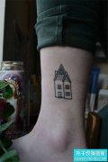 脚踝小清新建筑小房子纹身图案