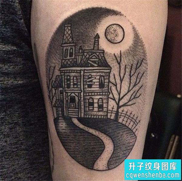 大腿点刺建筑纹身图案