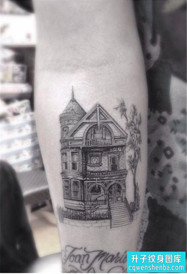 手臂欧美黑白建筑房子纹身图案