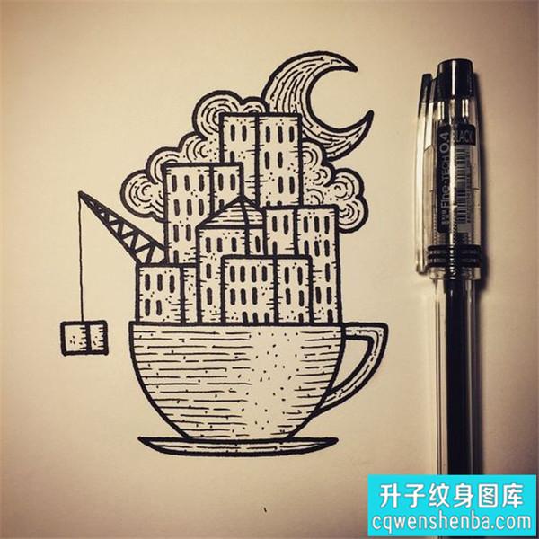 建筑纹身手稿图案