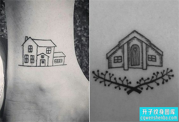 脚踝小房子纹身图案