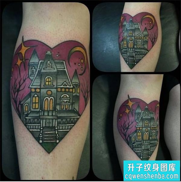 小腿外侧建筑城堡纹身图案