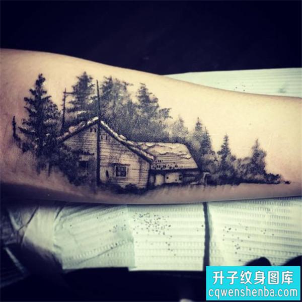 手臂内侧风景建筑纹身图案
