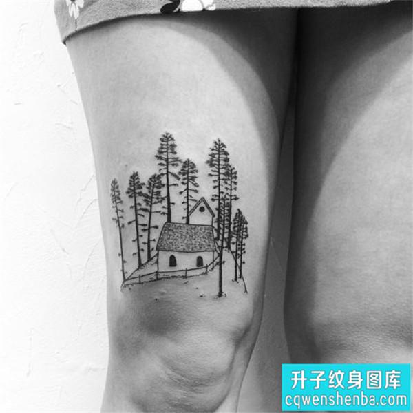 大腿小清新建筑纹身图案