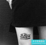 美女大腿黑白建筑纹身图案