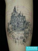 小腿建筑纹身图案大全