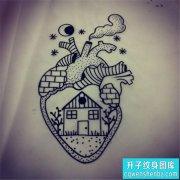 建筑心脏纹身图案