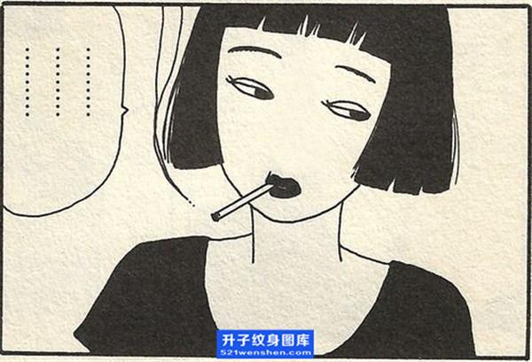 美女抽烟烟纹身手稿图案