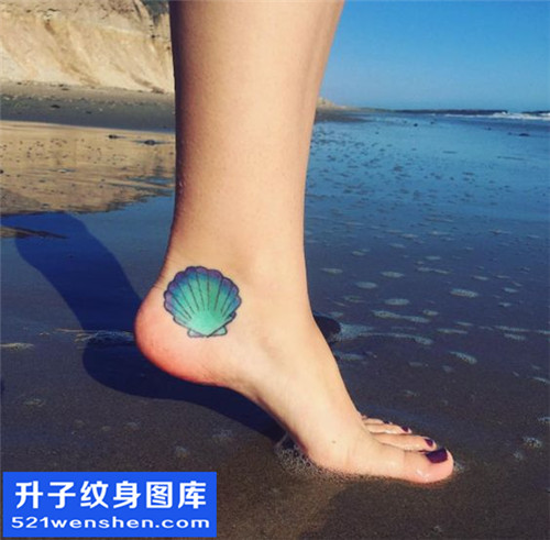 女性脚踝彩色贝壳纹身图案纹身大全