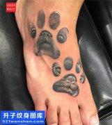 女性脚背宠物脚印纹身图案大全