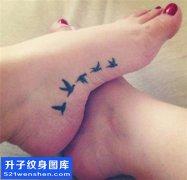 女性脚踝小清新纹身图案大全