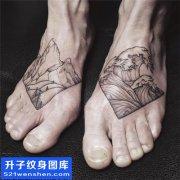男性脚背山浪纹身图案大全