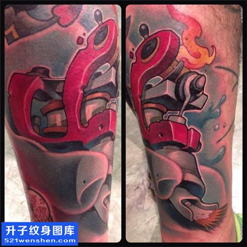 男性欧美小腿彩色纹身机图案大全