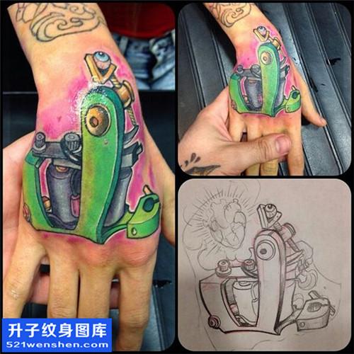 男性手背彩色欧美纹身机图案大全