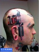 男性头部欧美彩色纹身机图案大全