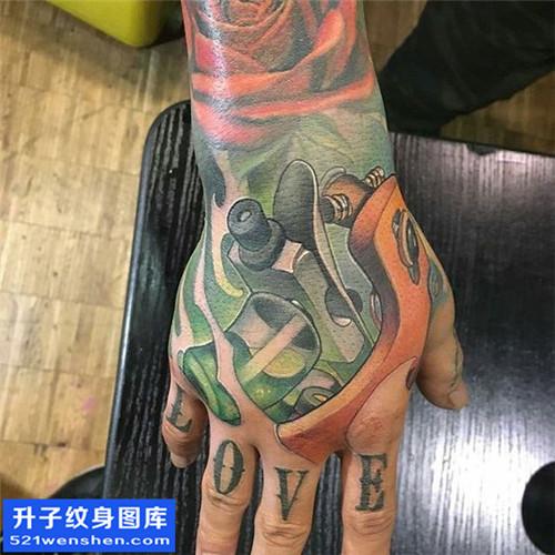 男性手背欧美彩色纹身机图案大全