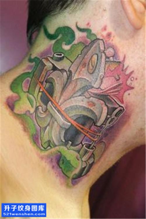 男性脖子欧美彩色纹身机图案大全