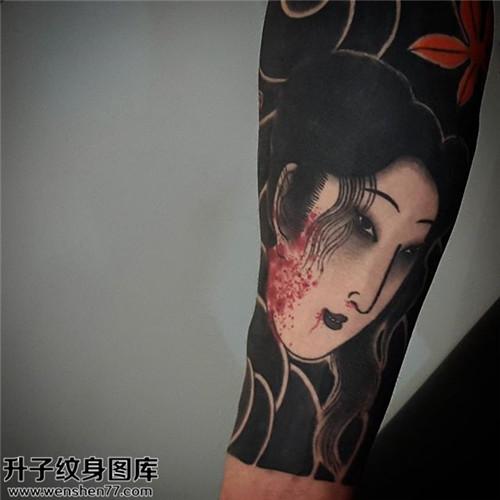 重庆哪里纹身便宜 男性小臂传统生首纹身图片大全