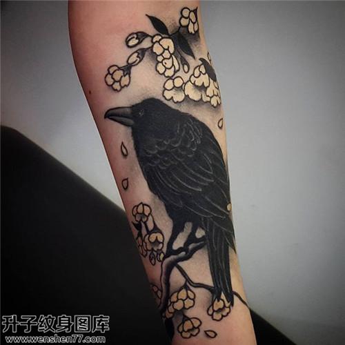 男性小臂传统乌鸦纹身图片大全