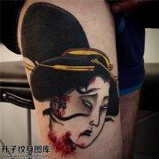 男性传统大腿生首纹身图案大全