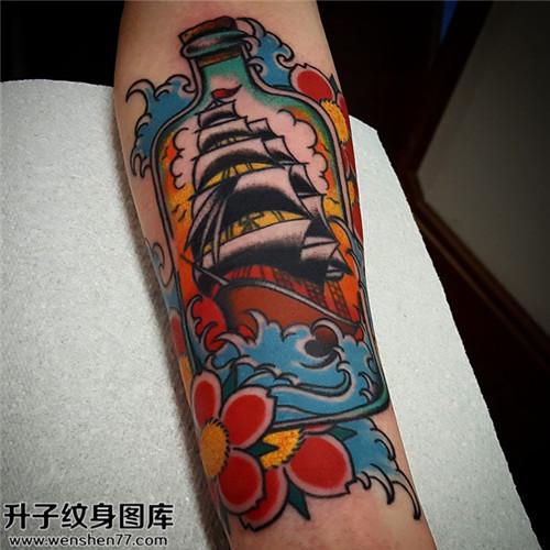 男性小臂彩色欧美船纹身图案大全