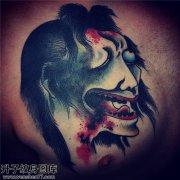 男性胸口传统生首纹身图片大全
