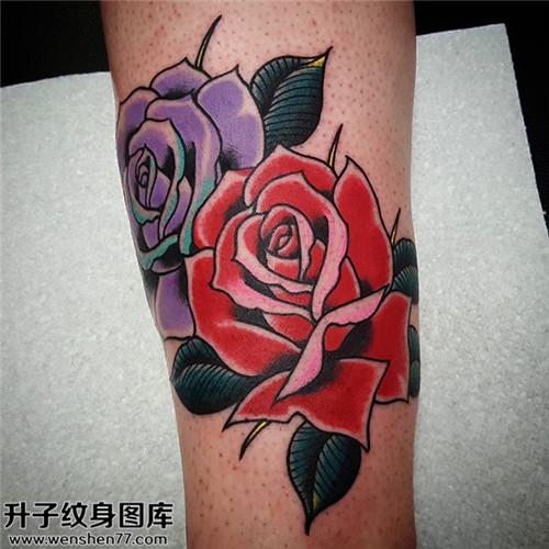 女性小臂欧美玫瑰纹身图案大全