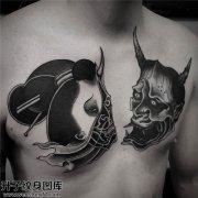 男性传统般若生首纹身图案大全