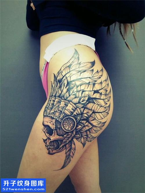 重庆纹身哪里好 女性欧美侧腰骷髅纹身图片大全