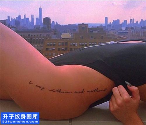 女性侧腰小清新英文纹身图片大全