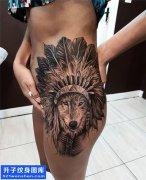 重庆纹身 女性欧美狼头侧腰纹身图片大全