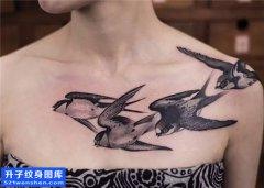 女性胸口水墨燕子纹身图片大全