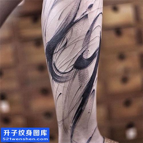 男性水墨小腿点刺纹身图案大全